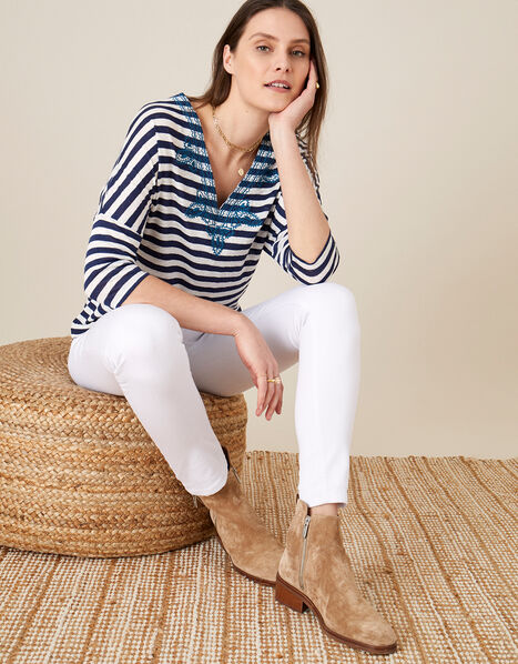 Embroidered Stripe Top  Ivory, Ivory (IVORY), large