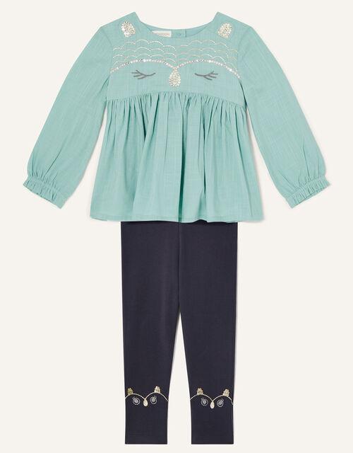 Baby Owl Woven Top and Leggings Set, Blue (AQUA), large