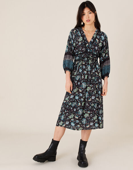 Floral Midi Dress in LENZING™ ECOVERO™ Black, Black (BLACK), large