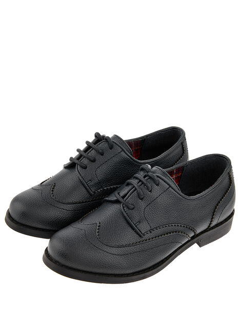 Boys' Oxford Brogue Shoes Black, Black (BLACK), large