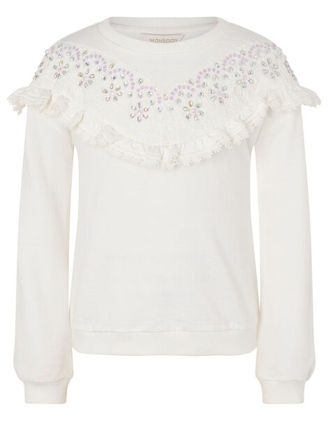 Lace and Gem Sweatshirt Ivory, Ivory (IVORY), large