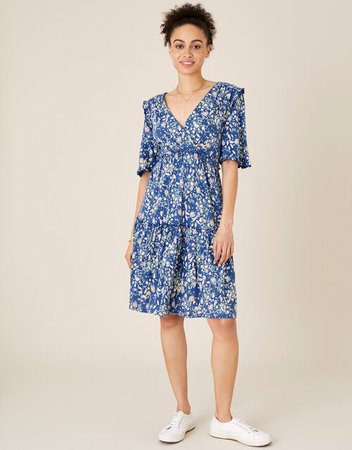 Floral Tiered Jersey Dress, Blue (BLUE), large