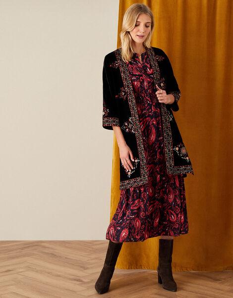 Embroidered Velvet Kimono Black, Black (BLACK), large