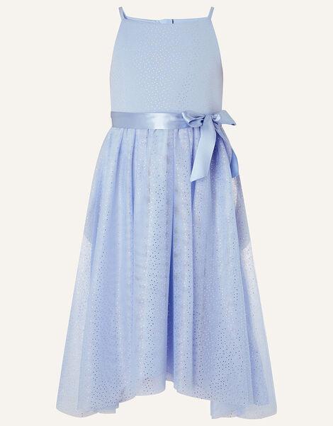 Foil Print Sleeveless Dress  Blue, Blue (PALE BLUE), large