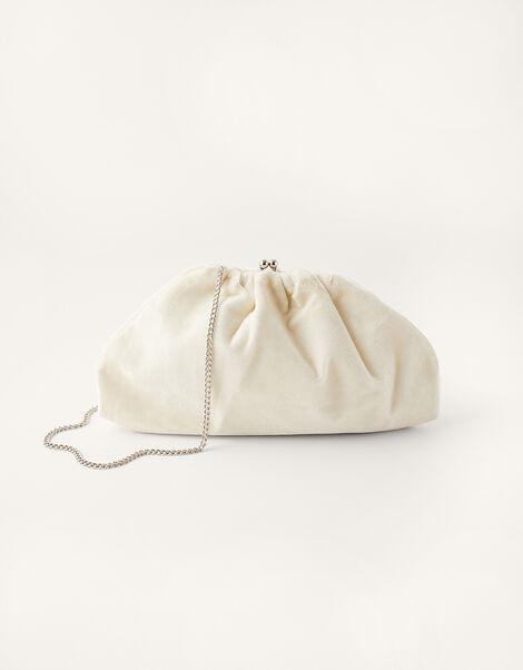 Velvet Ruched Bridal Clutch Bag , , large