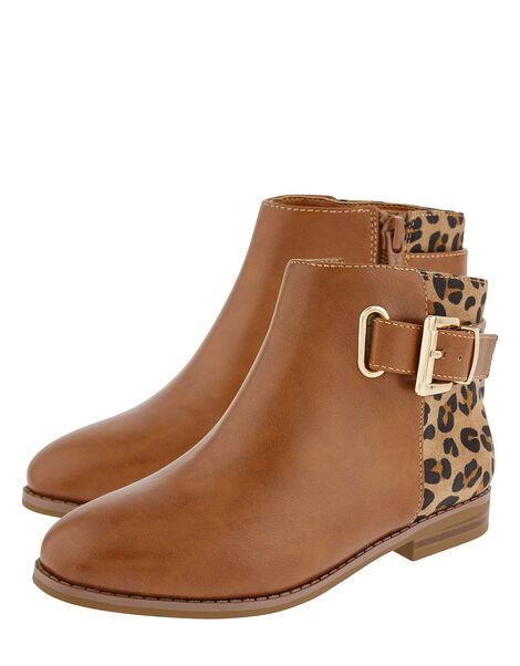 Mollie Leopard Ankle Boots Tan, Tan (TAN), large