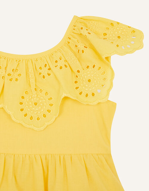 Baby Broderie Frill Dress, Yellow (YELLOW), large