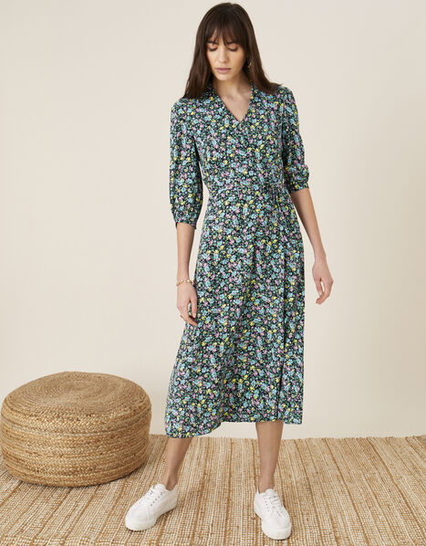 Ditsy Floral Print Collar Dress Blue, Blue (NAVY), large