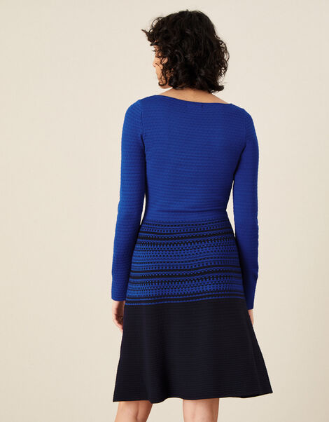 Textured Fit and Flare Dress  Blue, Blue (BLUE), large