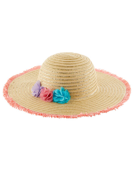 Blaire Bright Pom-Pom Floppy Hat  Natural, Natural (NATURAL), large