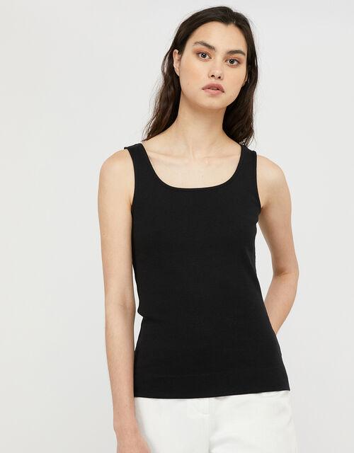 Bridey Square Neck Jersey Vest, Black (BLACK), large