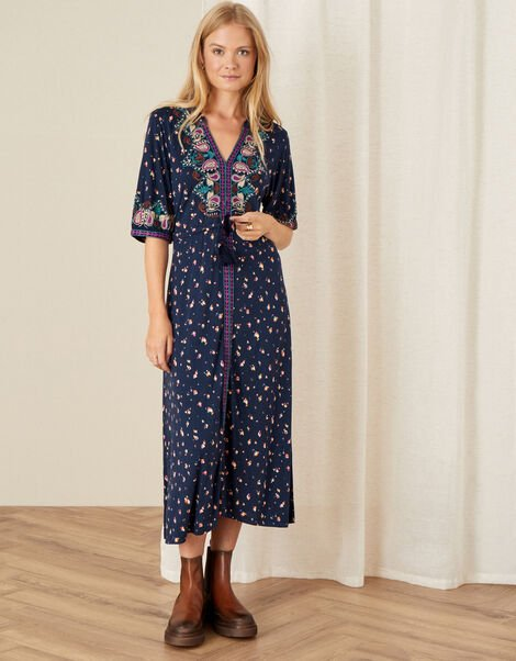 Embroidered Jersey Midi Dress Blue, Blue (NAVY), large