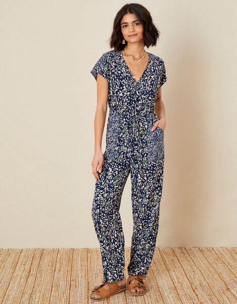 Printed Jumpsuit in LENZING™ ECOVERO™ Blue, Blue (NAVY), large