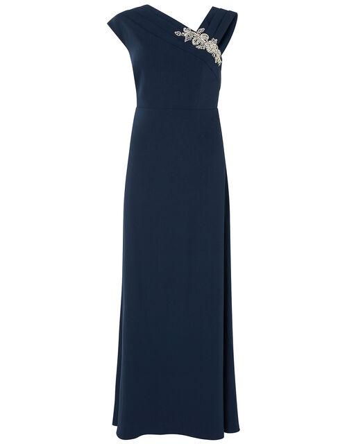 Maya Embellished Shoulder Maxi Dress, Blue (NAVY), large
