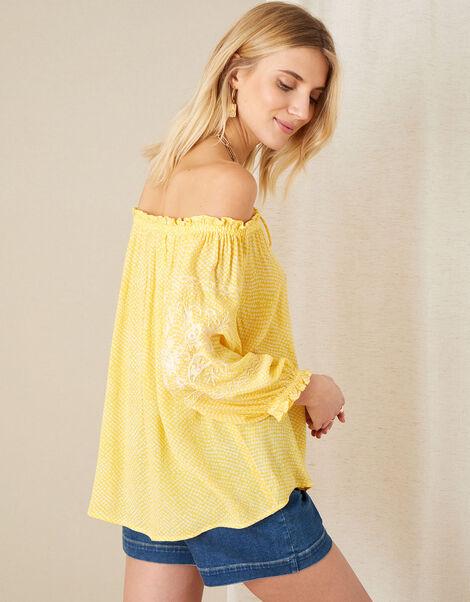 Anastasija Printed Off-Shoulder Top Yellow, Yellow (YELLOW), large