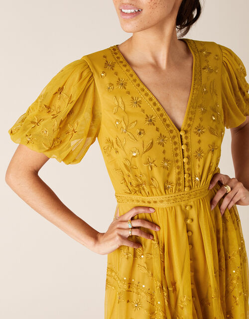 Valerie Sequin Embroidered Tea Dress, Yellow (OCHRE), large