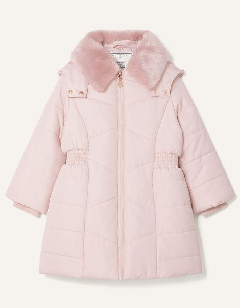 Shirred Waist Padded Coat Pink, Pink (PALE PINK), large