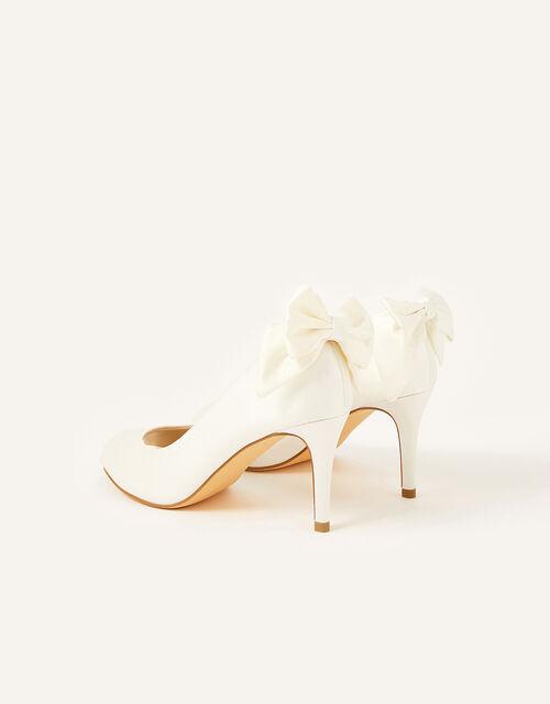 Bessie Bridal Satin Peeptoe Heels with Bow, Ivory (IVORY), large