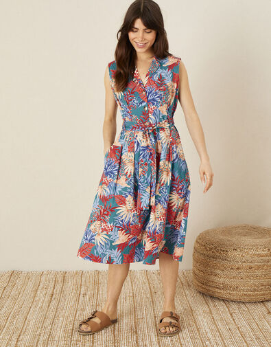 Floral Poplin Midi Dress Teal, Teal (TEAL), large