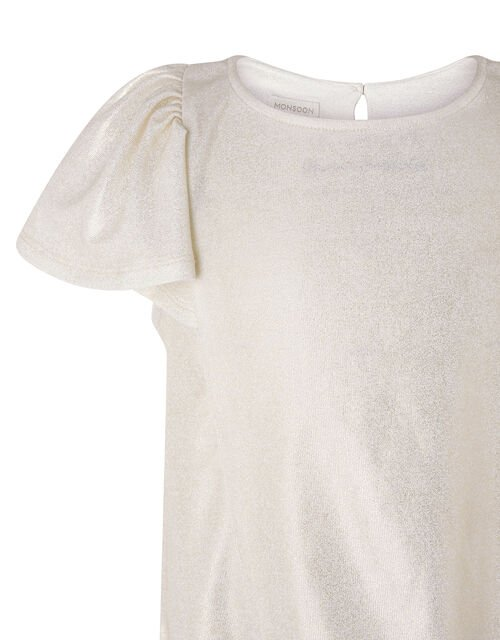 Shimmery Frilled T-shirt, Gold (GOLD), large