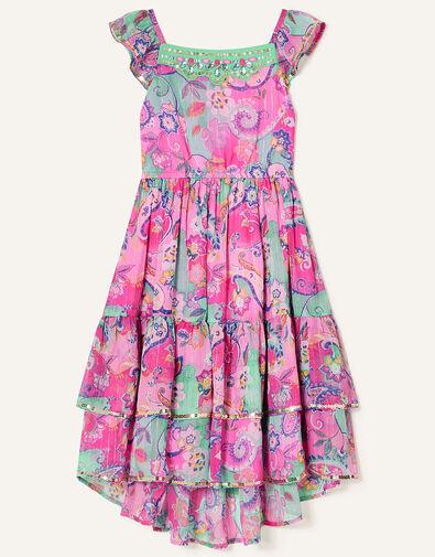 Embellished Paisley Print Maxi Dress Pink, Pink (PINK), large