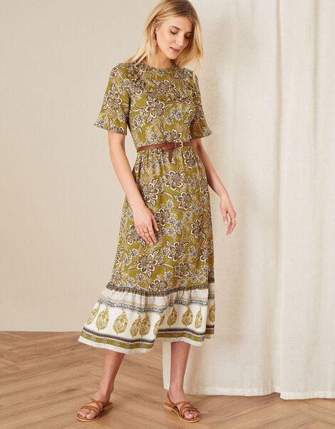Suranne Heritage Print Bib Dress Yellow, Yellow (OCHRE), large