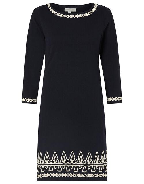 Cornelli Trim Knit Dress, Blue (NAVY), large