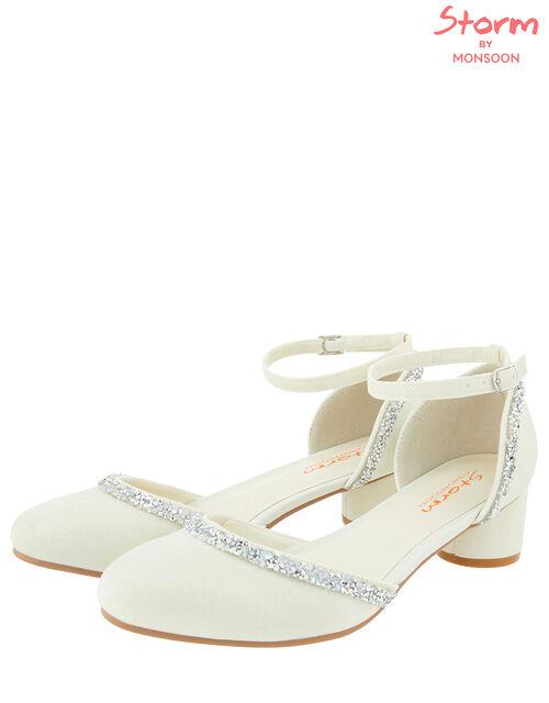 Shimmer Dazzle Trim Occasion Shoe, Ivory (IVORY), large