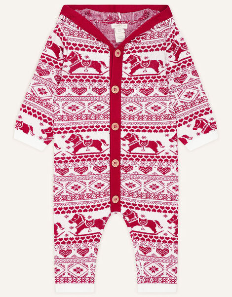 Newborn Rocking Horse Sleepsuit Red, Red (RED), large