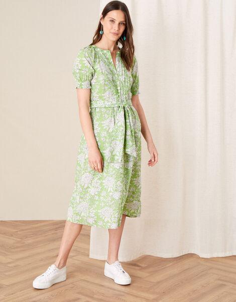 ARTISAN STUDIO Floral Belted Dress Green, Green (GREEN), large