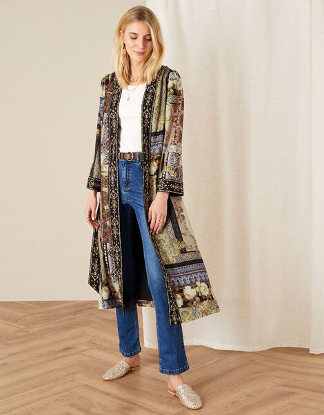 Demi Printed Long Kimono Camel, Camel (BEIGE), large