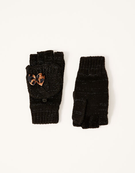 Leopard Bow Sparkle Capped Gloves Black, Black (BLACK), large