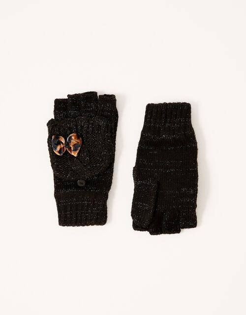 Leopard Bow Sparkle Capped Gloves, Black (BLACK), large