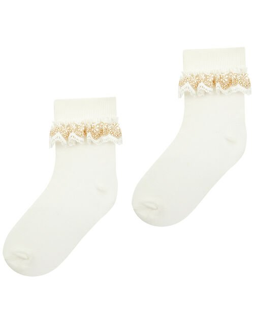 Chloe Sparkle Gold Lace Socks, Ivory (IVORY), large