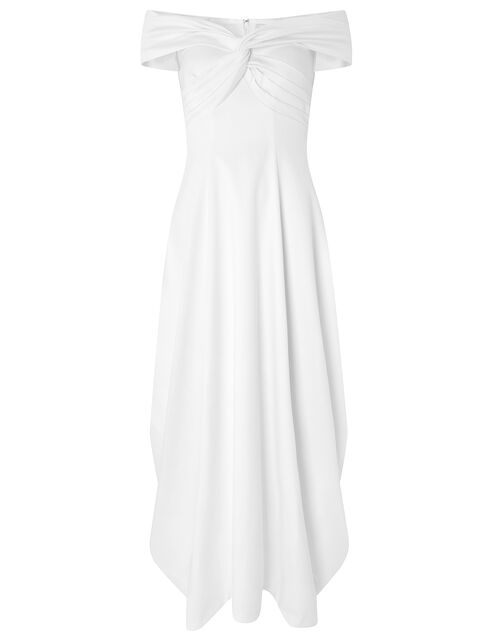 Hannah Bridal Bardot Satin Maxi Dress, Ivory (IVORY), large