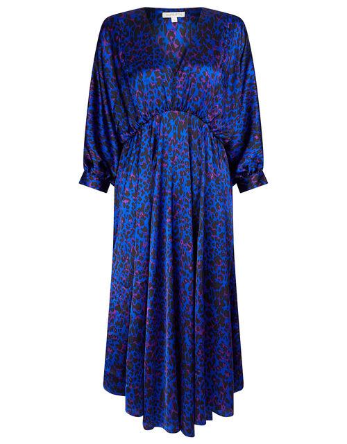 Animal Print Satin Midi Dress, Blue (BLUE), large