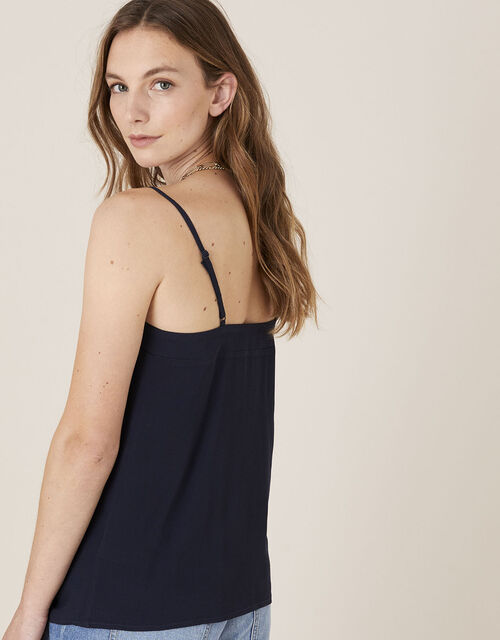 Pleated Trim Cami with Sustainable Viscose, Blue (NAVY), large
