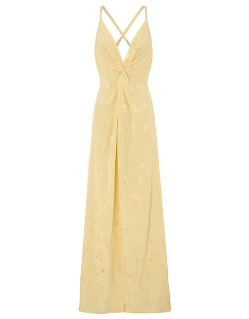 Karlie Knot Front Jacquard Dress, Yellow (YELLOW), large