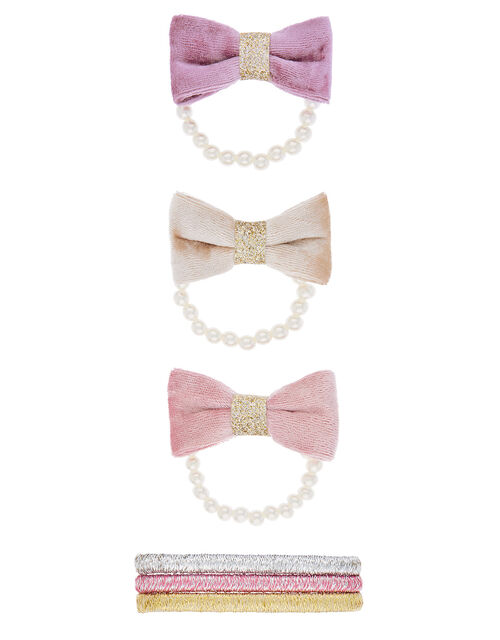 Pearly Velvet Bow Hair Band Set, , large