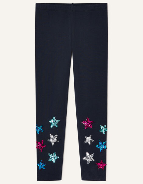 Sequin Star Leggings Blue, Blue (NAVY), large