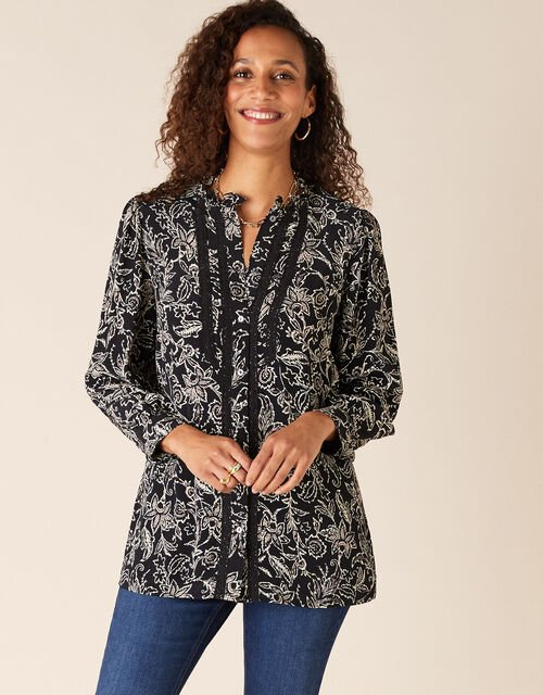 Lace Trim Floral Blouse in Sustainable Viscose, Black (BLACK), large