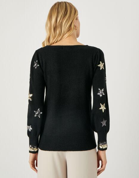 Eva Sequin Star Jumper Black, Black (BLACK), large