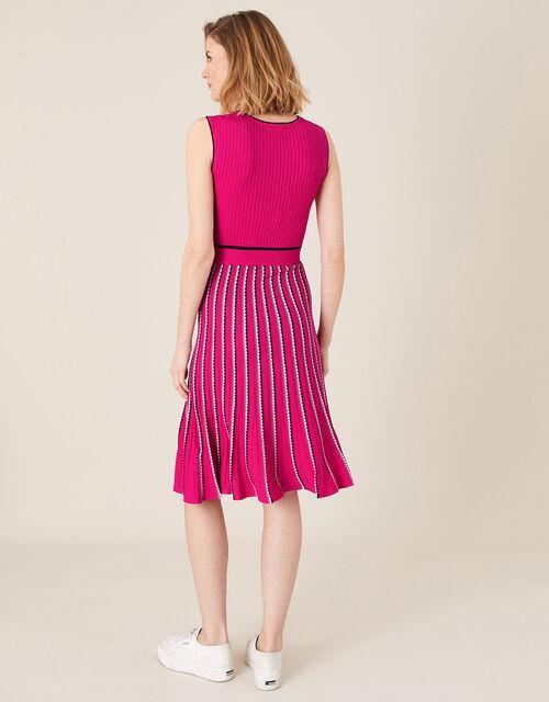 Mimi Ribbed Knit Sleeveless Dress, Pink (PINK), large