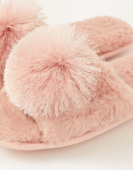 Faux Fur Pom-Pom Slippers Pink, Pink (PINK), large