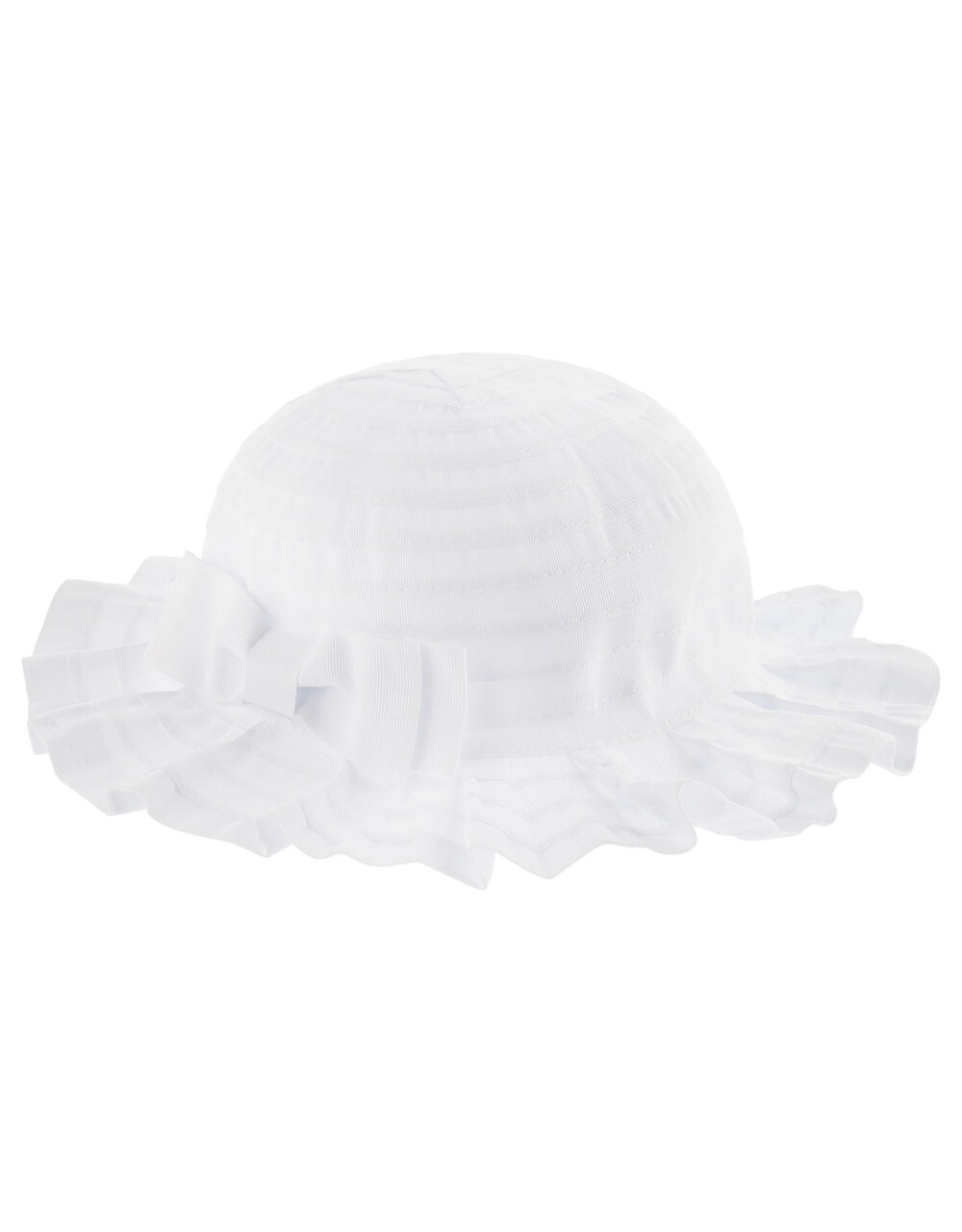 Baby Ruby Pleated Bow Hat , White (WHITE), large