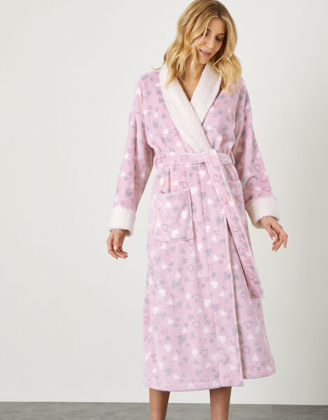 Heart Print Fluffy Dressing Gown  Pink, Pink (PINK), large