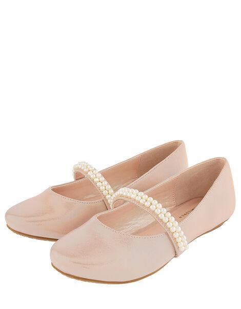 Valerie Pearl Strap Shimmer Ballerina Shoes Pink, Pink (PINK), large