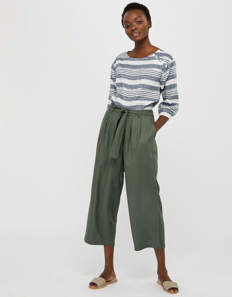 Marty Cropped Trousers in LENZING™ TENCEL™ Green, Green (KHAKI), large