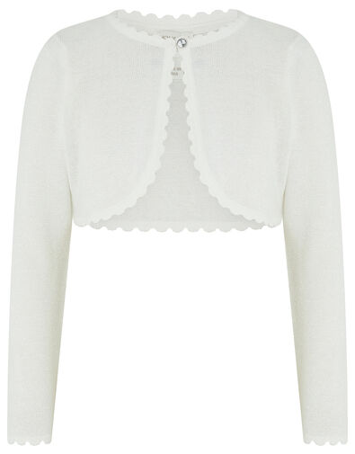 Niamh Sparkle Knit Cardigan with Crystal Button Ivory, Ivory (IVORY), large