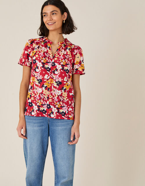 Floral Blouse in Linen Blend, Red (RED), large